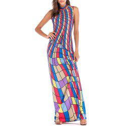 Women's Diamond-Shaped Printed Long Dress -