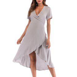 Women's Solid Color Slim Lace Sexy V-Neck Dress -