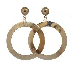 Brief Trendy Gold Color Circle Ring Pendant Ear Drop Earrings -