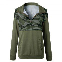 Printing Camouflage Zipper Lapel Long Sleeve Sweater Hoodie -