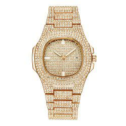 Fashion Men Luxury Sparkle Diamond Quartz Bracelet Wrist Watch -