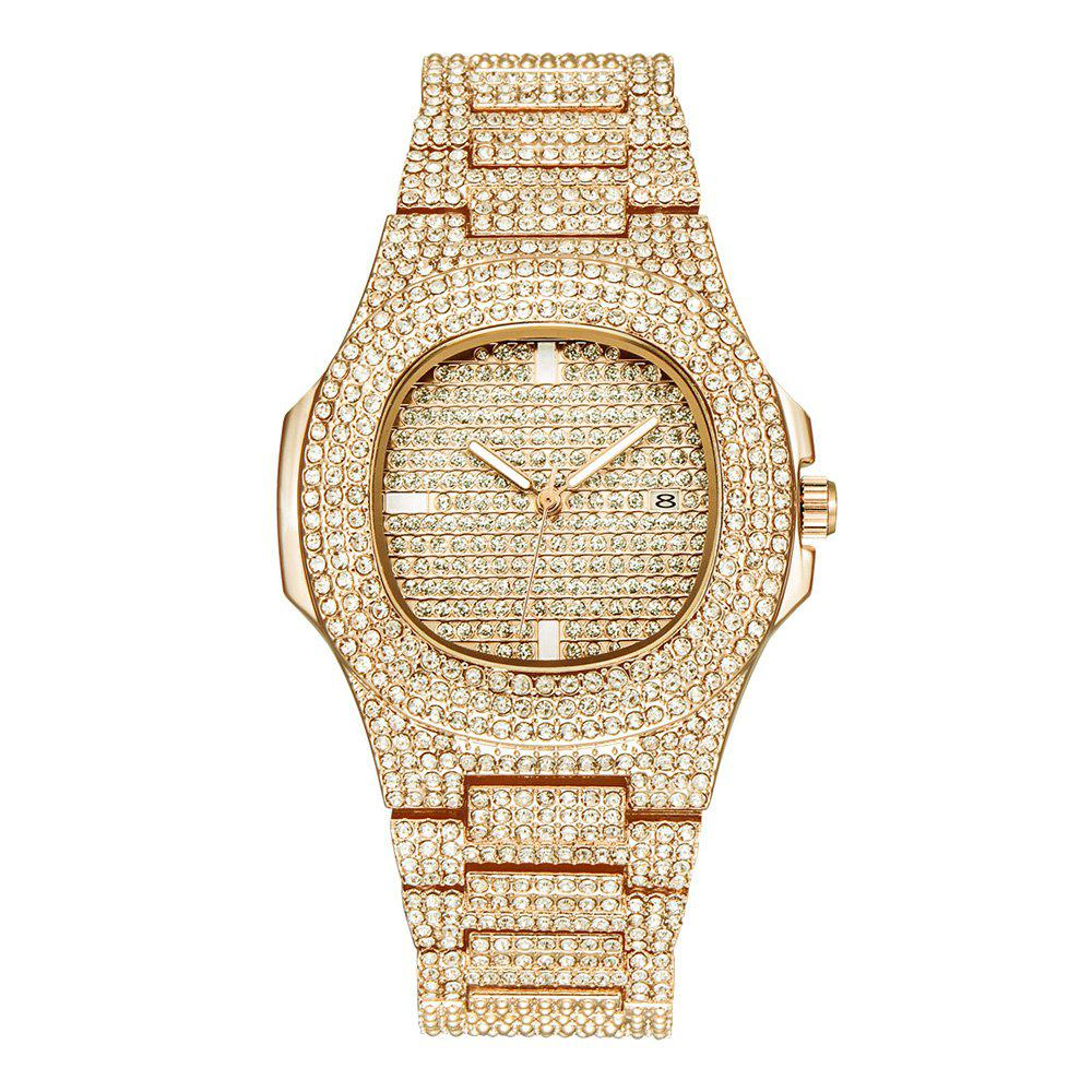 Outfits Fashion Men Luxury Sparkle Diamond Quartz Bracelet Wrist Watch