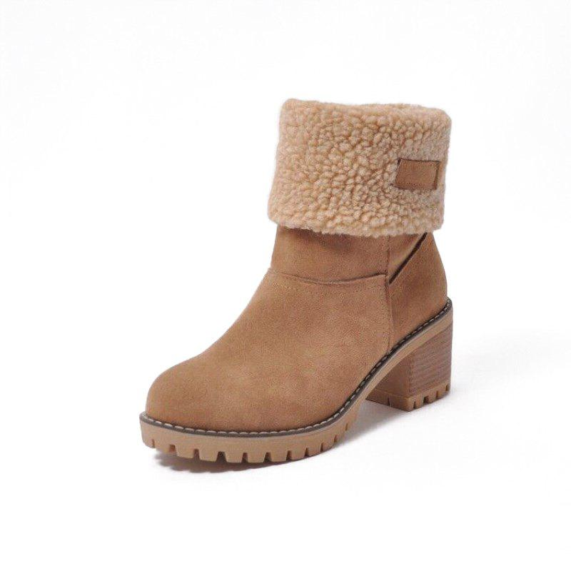 Affordable Winter Low Tube Add Down Warm Thick Heel Boots