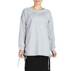 SBETRO Round Neck Loose Solid Hoody Sporty Knitted Pullover Sweater -
