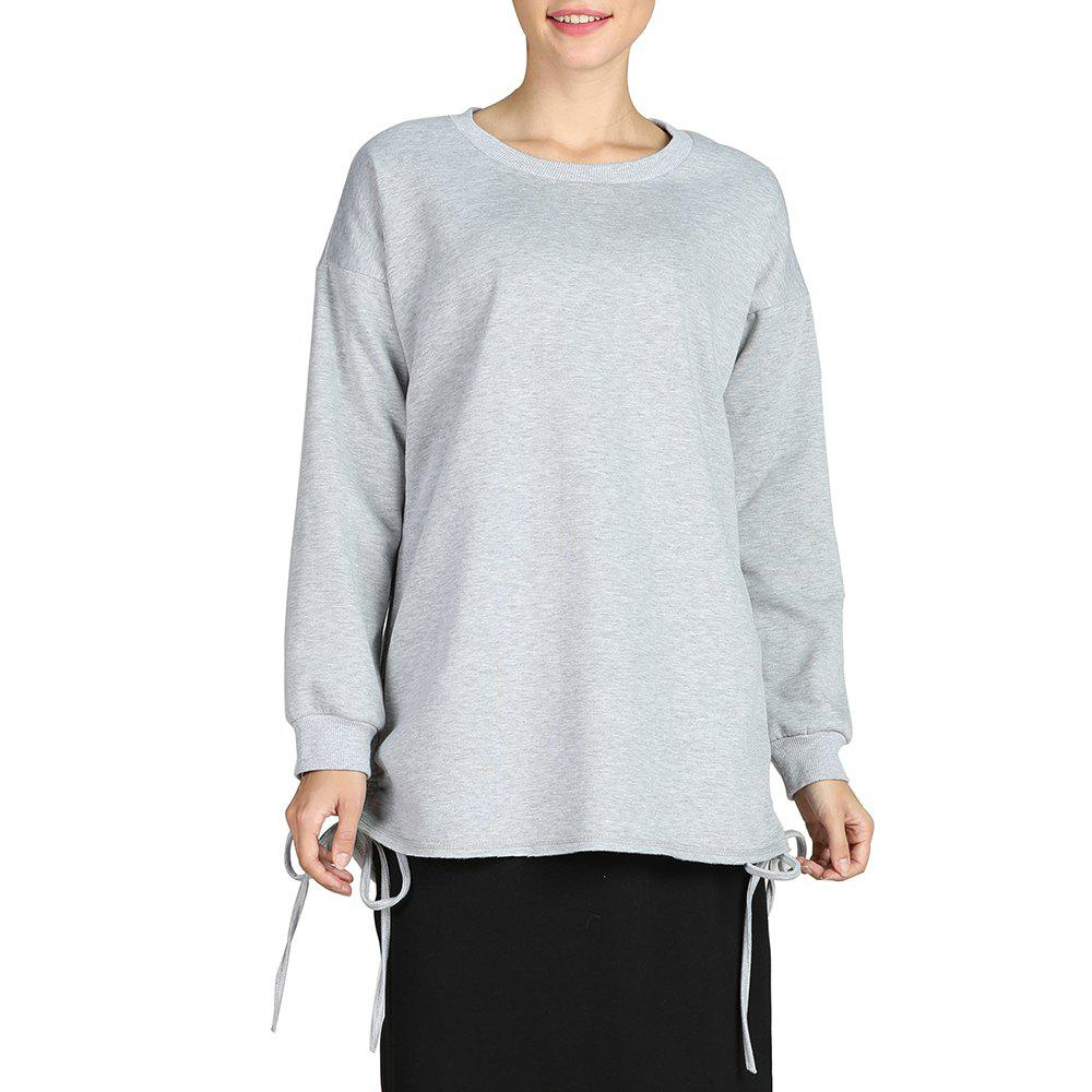 Store SBETRO Round Neck Loose Solid Hoody Sporty Knitted Pullover Sweater