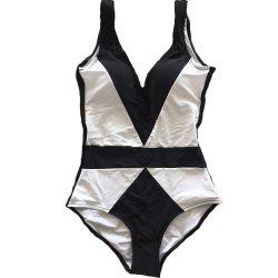 SleeWlM Printing One-Piece Swimsuit Parent-Child Outfit Two-Tone Joint Mom -