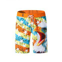 Men Elastic Fabric Digital Printing Beach Surf Pants Quick-Drying Shorts -