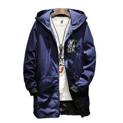Men Hooded Solid Color Print Jacket -