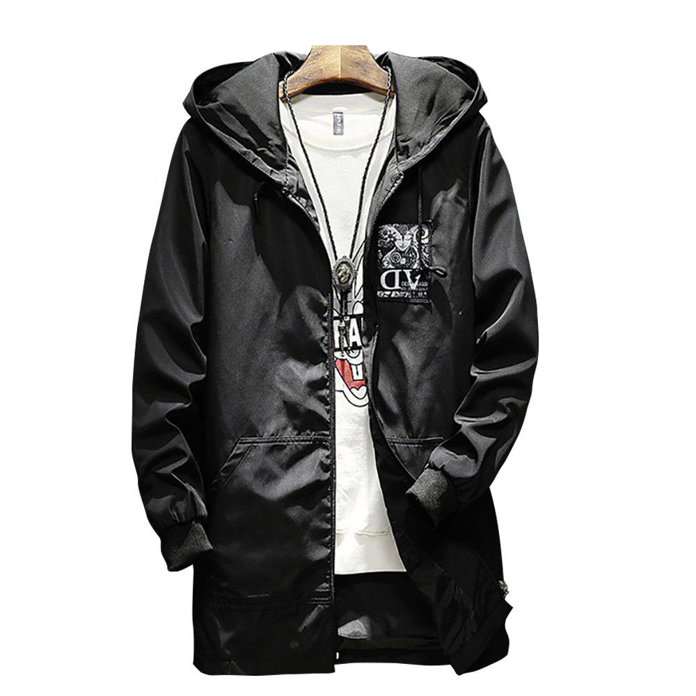 Sale Men Hooded Solid Color Print Jacket