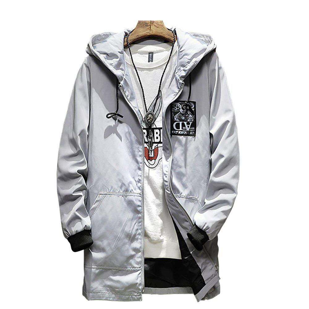 Store Men Hooded Solid Color Print Jacket