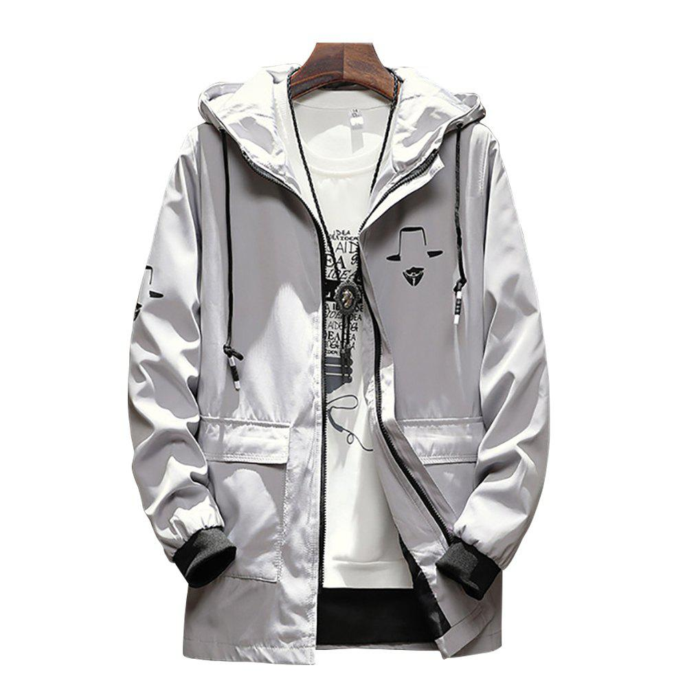 Outfit Men Stand Collar Solid Color Printed Coat Jacket