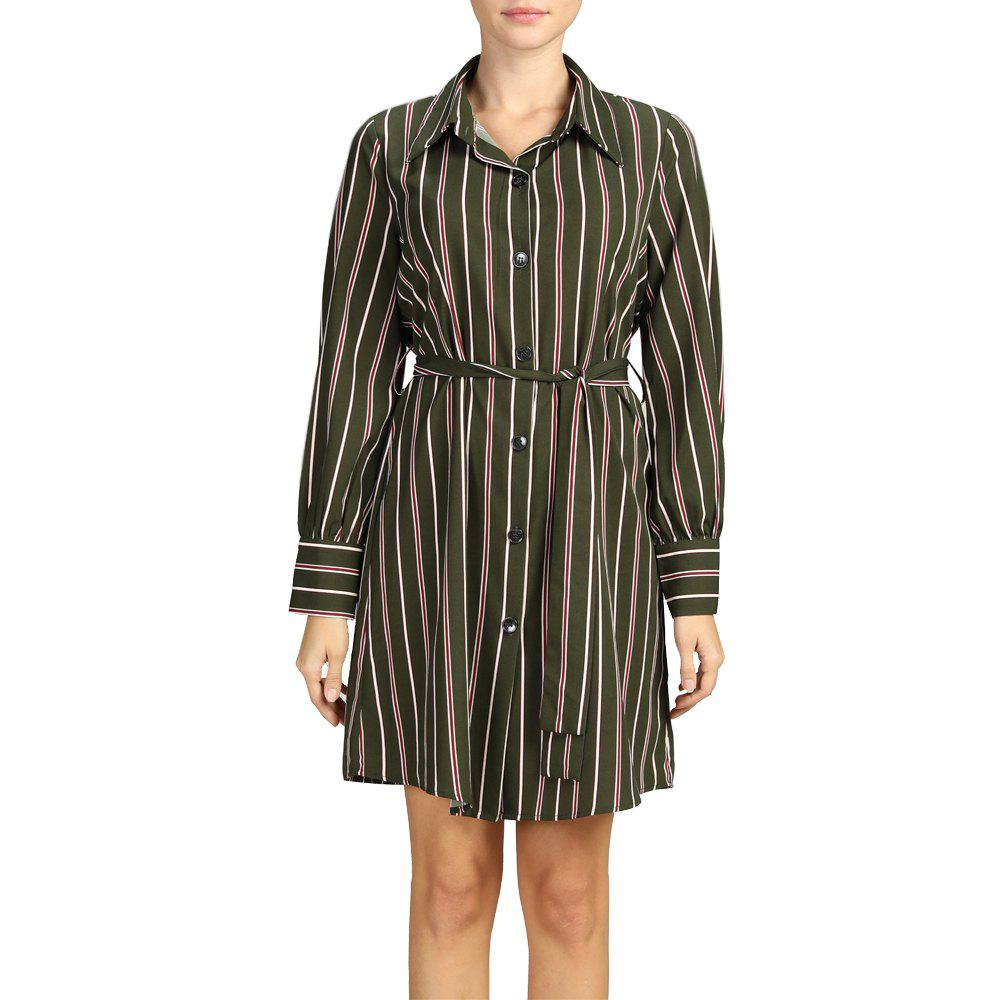 SBETRO Turn Down Collar Shirt Dress Striped Office Lady Dress with Waist Tie