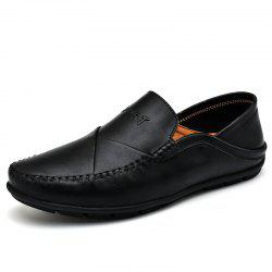 Men'S Casual Leather Lazy Breathable Driving Peas Shoes -