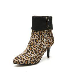 Pointed Leopard Print High Heel Boots -