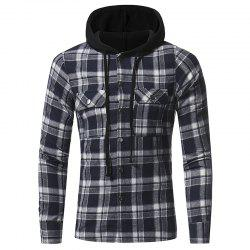 Flannel Double Pocket Hooded Casual Men's Plaid Long Sleeve Shirt Jacket -