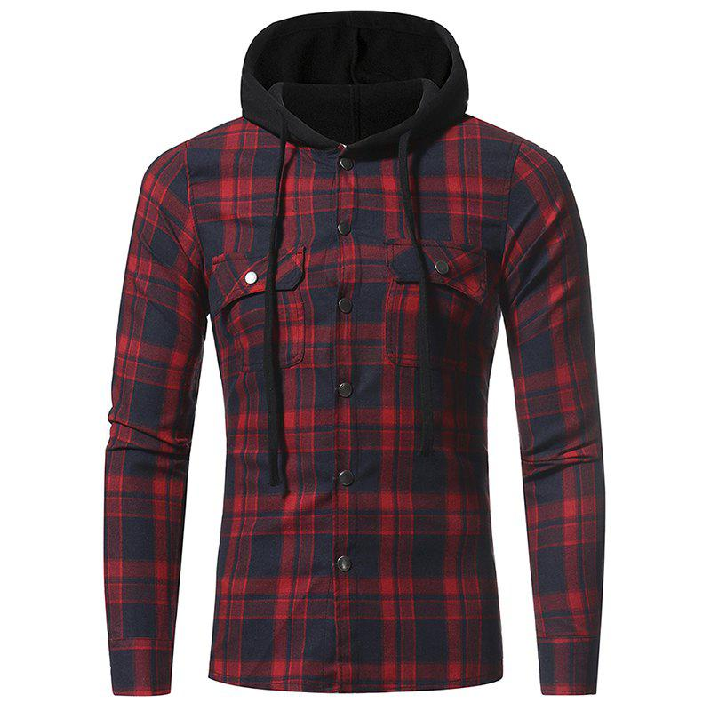 Sale Flannel Double Pocket Hooded Casual Men's Plaid Long Sleeve Shirt Jacket