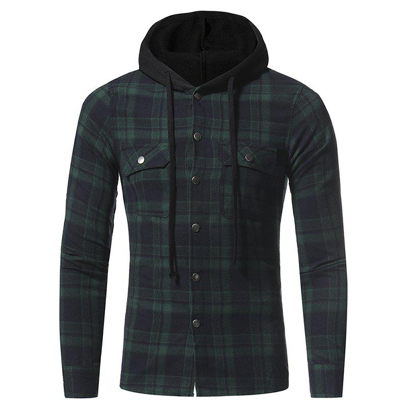 Cheap Flannel Double Pocket Hooded Casual Men's Plaid Long Sleeve Shirt Jacket