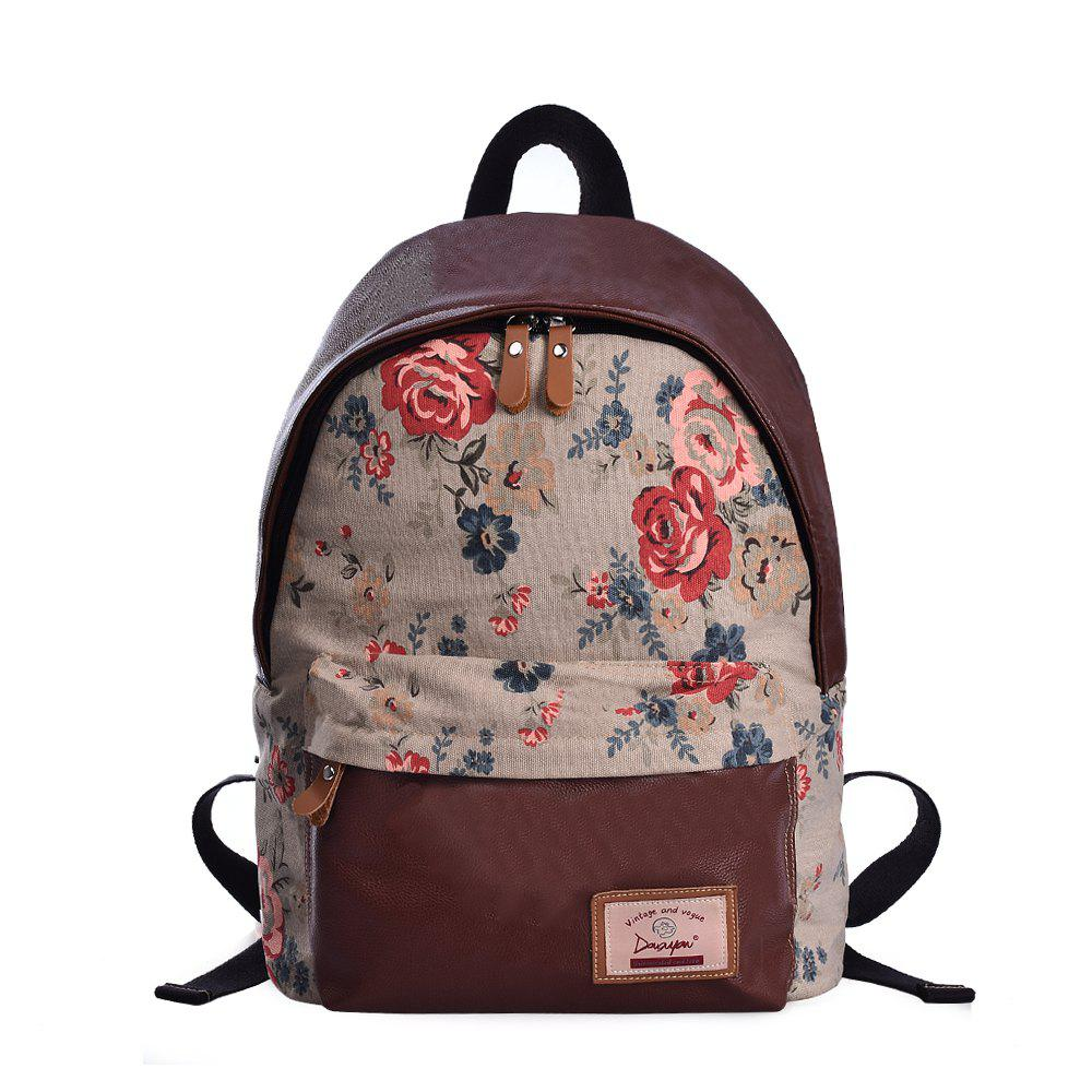 Douguyan Fashion School Canvas Sac à dos imprimé mignon G00320A