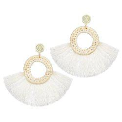 Fashionable National Style Individual Character Exaggerated Wool Tassel Earrings -