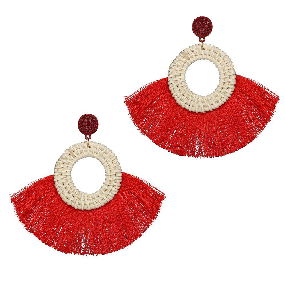 Affordable Fashionable National Style Individual Character Exaggerated Wool Tassel Earrings