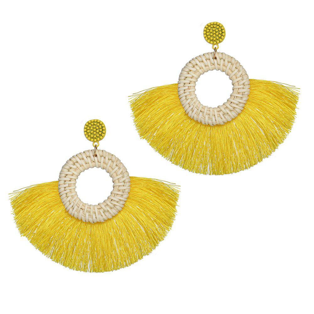 Outfit Fashionable National Style Individual Character Exaggerated Wool Tassel Earrings