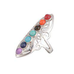 New Yoga Colorful Natural Stone Personal Energy Stone Ring -