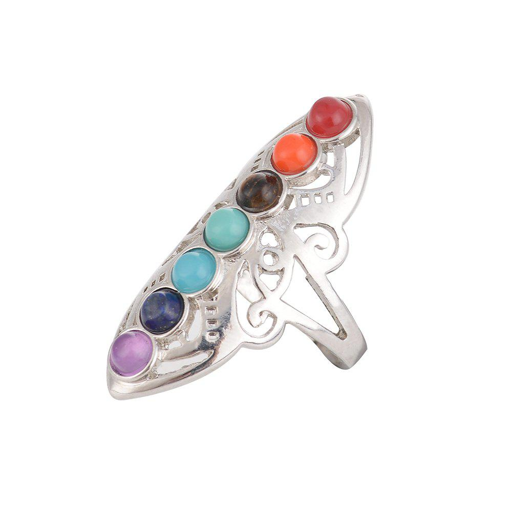 Latest New Yoga Colorful Natural Stone Personal Energy Stone Ring