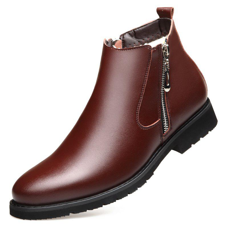 New MUHUISEN Fashion Winter Slip On Zipper Motorcycle Boots Casual Warm Shoes