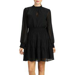SBETRO Polka Dot Turtle Neck Rib-knit Cuff Pleated Dress with Ruffle -