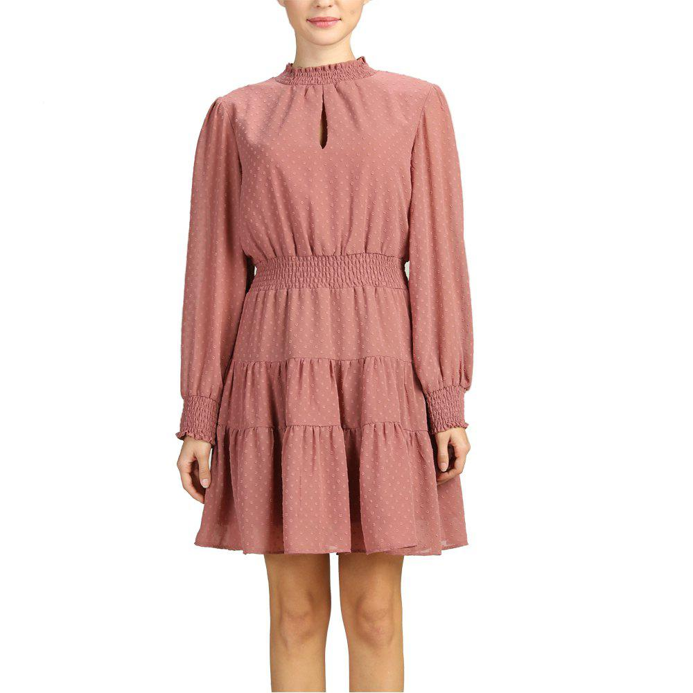 Hot SBETRO Polka Dot Turtle Neck Rib-knit Cuff Pleated Dress with Ruffle