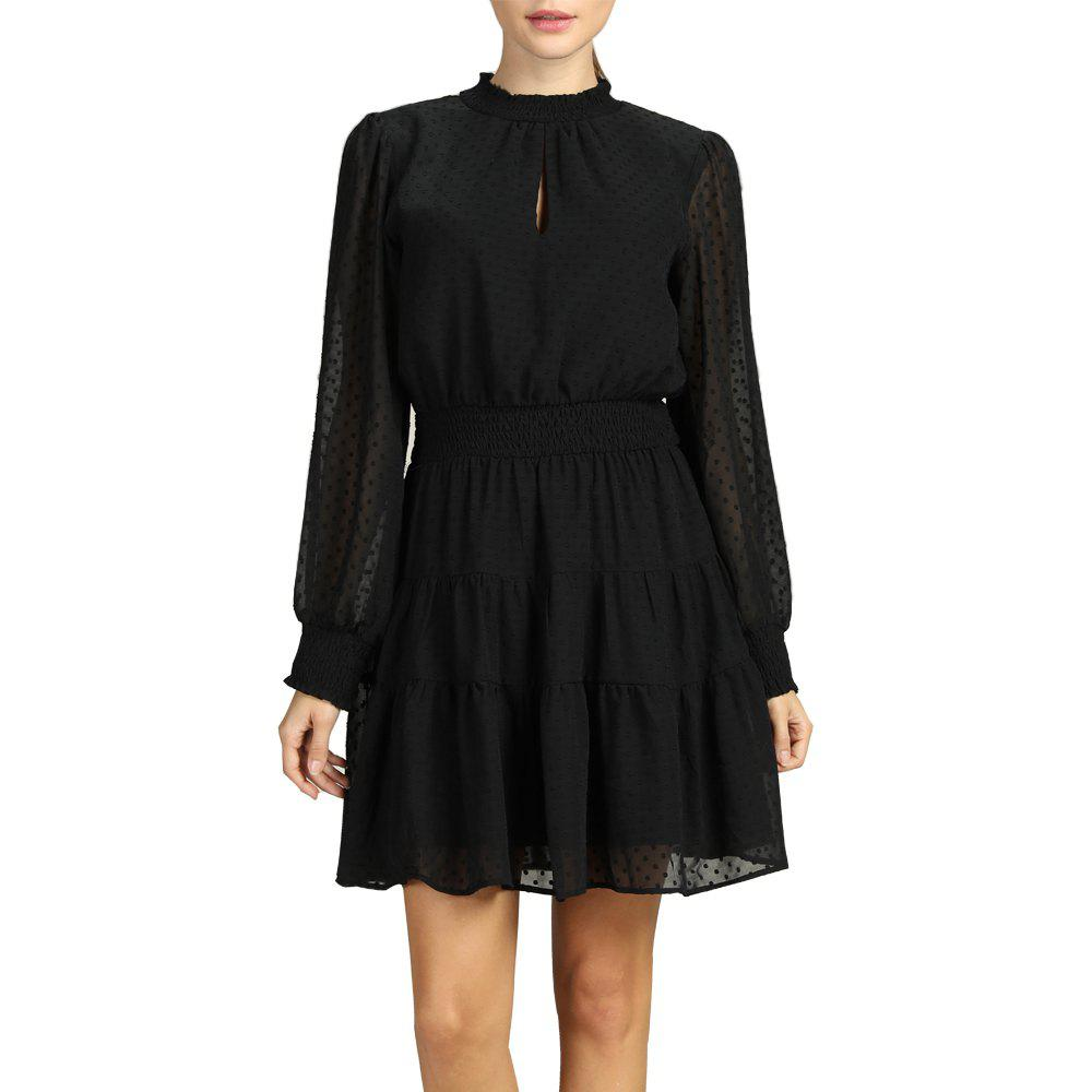 Outfit SBETRO Polka Dot Turtle Neck Rib-knit Cuff Pleated Dress with Ruffle