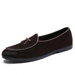 Men'S Leather Soft Bottom Breathable Lazy Set of Feet Driving Casual Peas Shoes -
