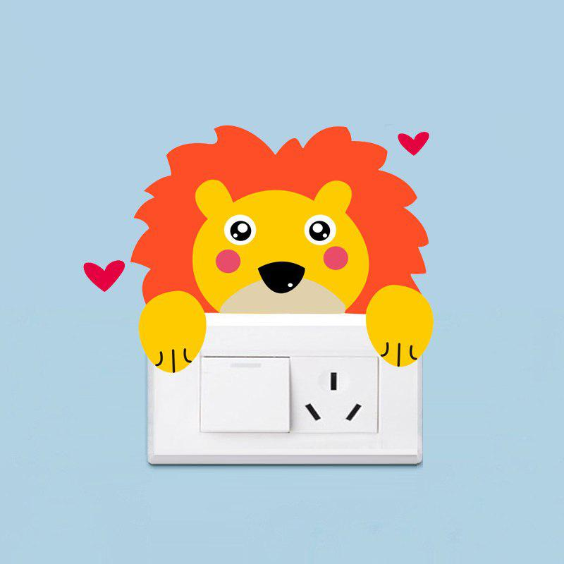 Cute Lion Light Switch Sticker Cartoon PVC Wall Decals Home Decor