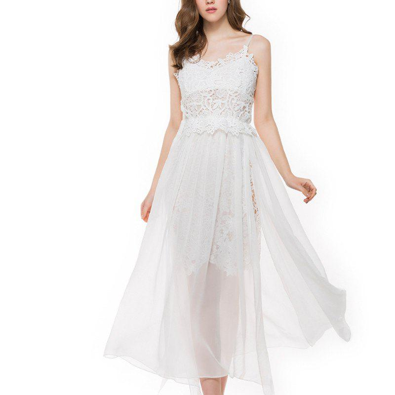 Buy Embroidery Splice Chiffon Split Sling Dress