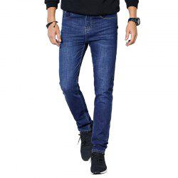 Autumn Clothes Men Casual Pants Trend Solid Color Slim Wash Straight Jeans -