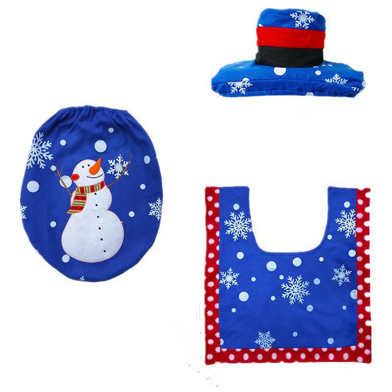 Remarkable Christmas Decoration Blue Snowman Toilet Seat Cover And Rug Bathroom Pabps2019 Chair Design Images Pabps2019Com
