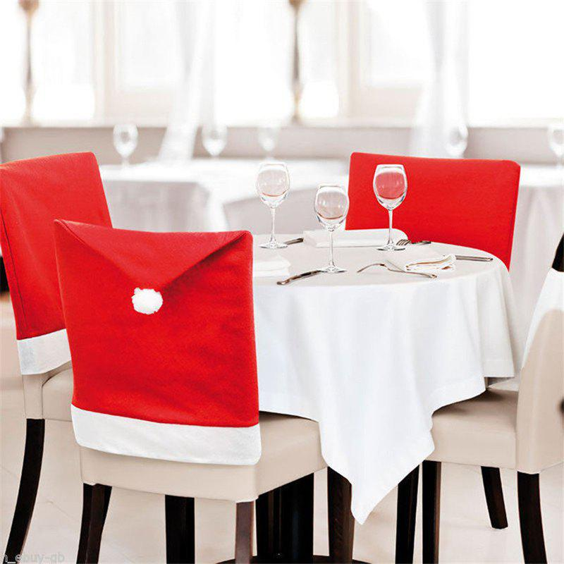 Best 6PCS Removable Santa Red Hat Chair Covers Christmas Decorations