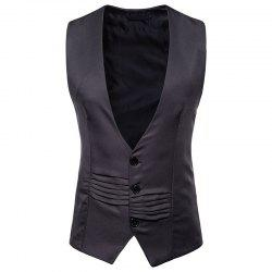 Men's V-Neck Single-Breasted Irregular Design Vest -