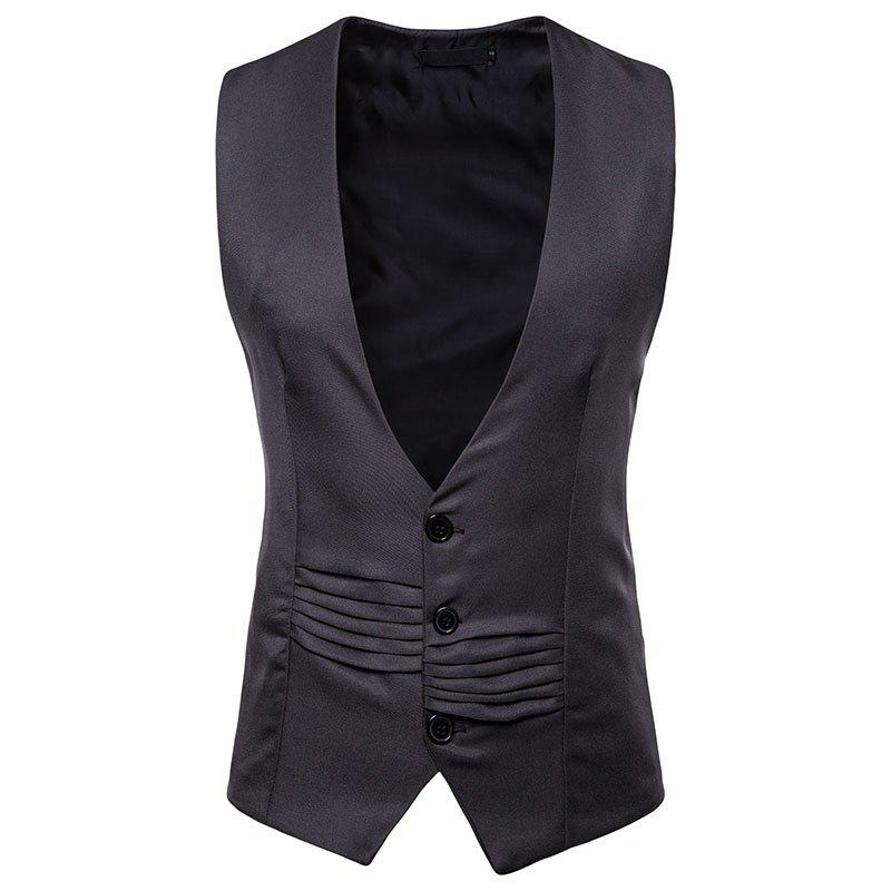 Cheap Men's V-Neck Single-Breasted Irregular Design Vest