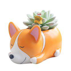 Creative Mini Cartoon Sleeping Pet Resin Handicraft Adorable Flowerpot -