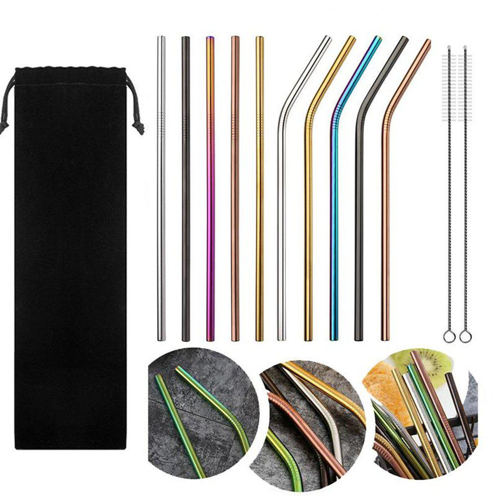 10pcs Stainless Steel Drinking Straws Multicolor Reusable thumbnail