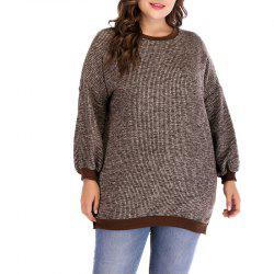 Round Collar Long Sleeve Knitted Sweater -