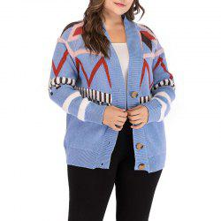 Knitted Long Sleeve Printing Cardigan Sweater -