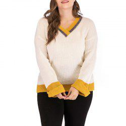 V Collar Splicing Long Sleeve Knitted Sweater -