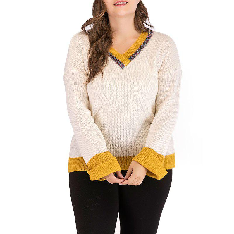 Fancy V Collar Splicing Long Sleeve Knitted Sweater