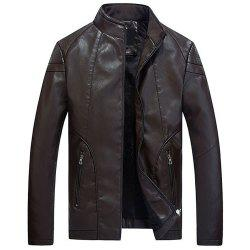 Men Slim Fit Pu Jacket with Stand Collar Warm for Winter -