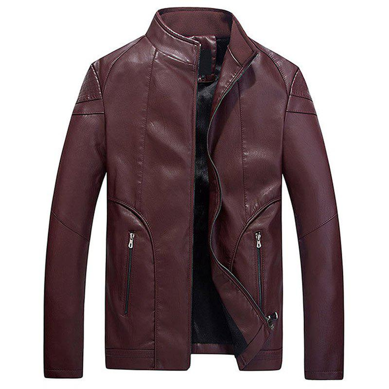 Fashion Men Slim Fit Pu Jacket with Stand Collar Warm for Winter