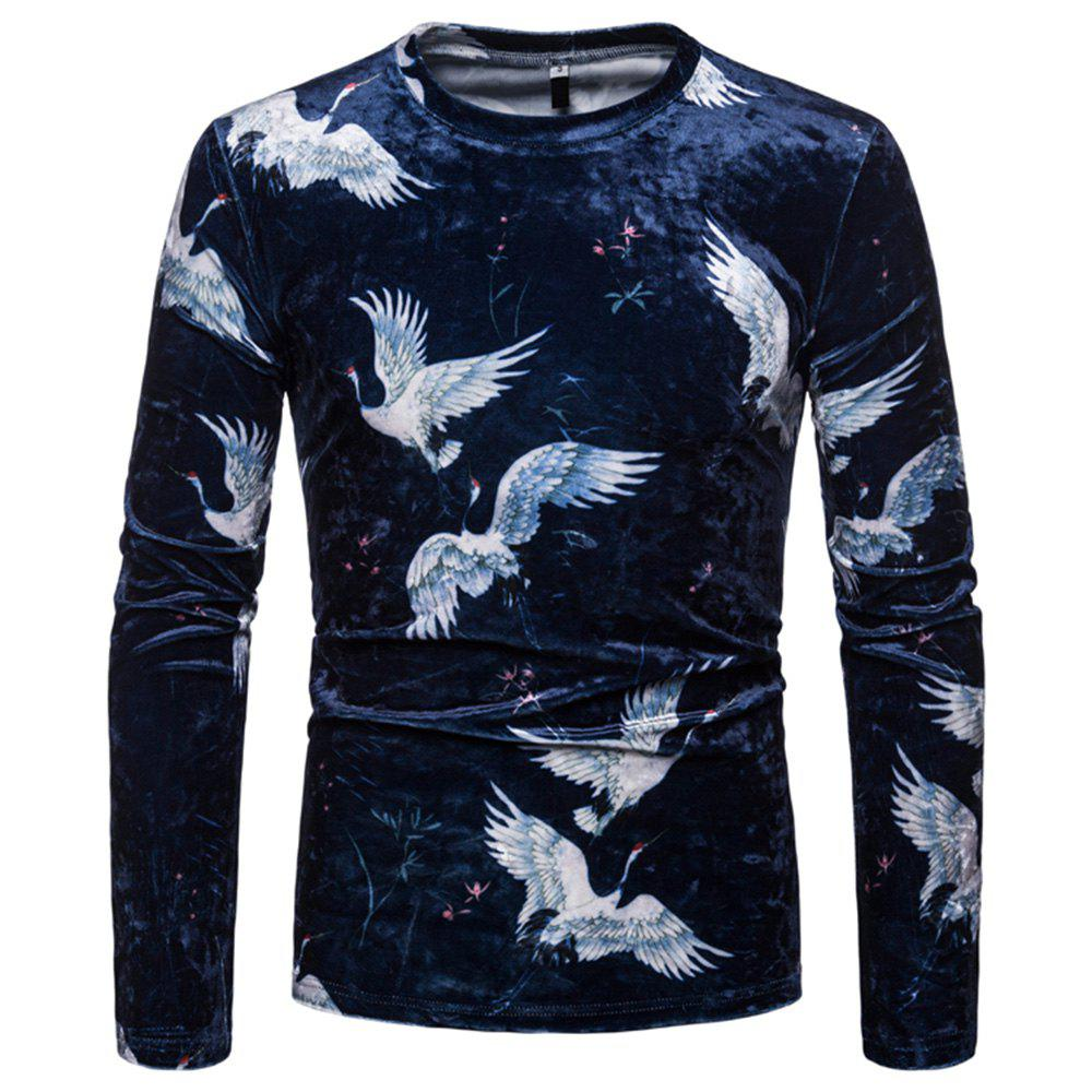 ceb9801c Men's Fashion Chinese Style Color Matching Casual Long-sleeved T-shirt