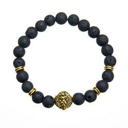 Trend Fashion Men's Volcanic Stone Lion Pendant Bracelet -