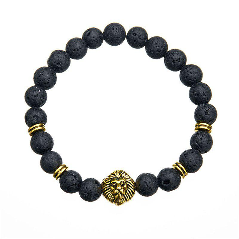 Buy Trend Fashion Men's Volcanic Stone Lion Pendant Bracelet
